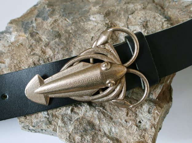 Squid Buckle in Polished Bronzed Silver Steel