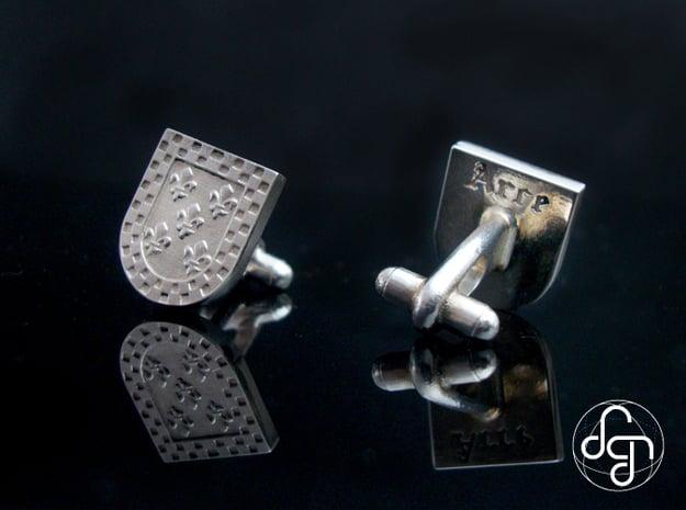 Heraldic Cufflinks (Arce) in Polished Silver