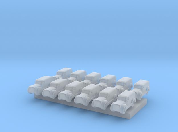 Car type A - T Scale 1:450 12 pcs set in Smoothest Fine Detail Plastic