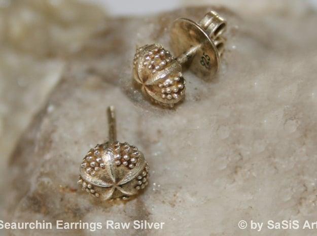 Seaurchin Earring in Natural Silver