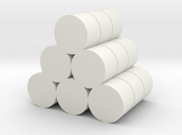 Strohballen Rundballen geschichtet als Pyramide 18 in White Natural Versatile Plastic