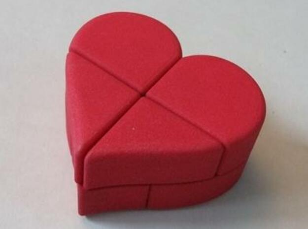 Heart 2x2x2 Puzzle in Red Processed Versatile Plastic