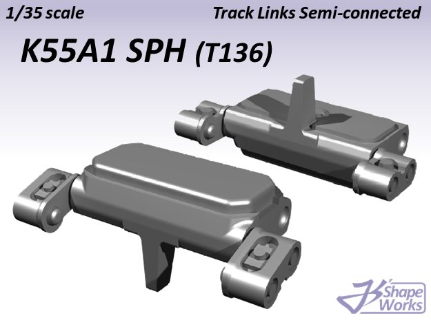 1/35 K55A1 SPH Track Links semi-connected  in Smooth Fine Detail Plastic