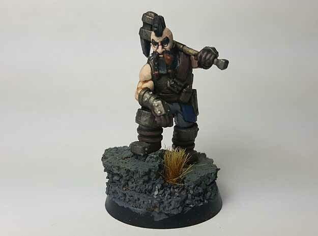 Dwarf Fighter in Smooth Fine Detail Plastic