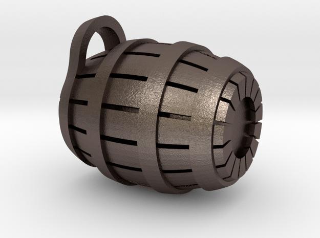 Barrel Necklace in Polished Bronzed Silver Steel