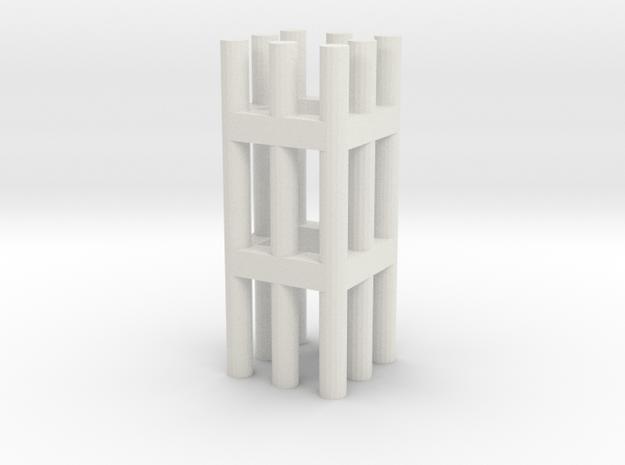 Duckdalben 8er rund mit Innenstreben 1:120 in White Natural Versatile Plastic