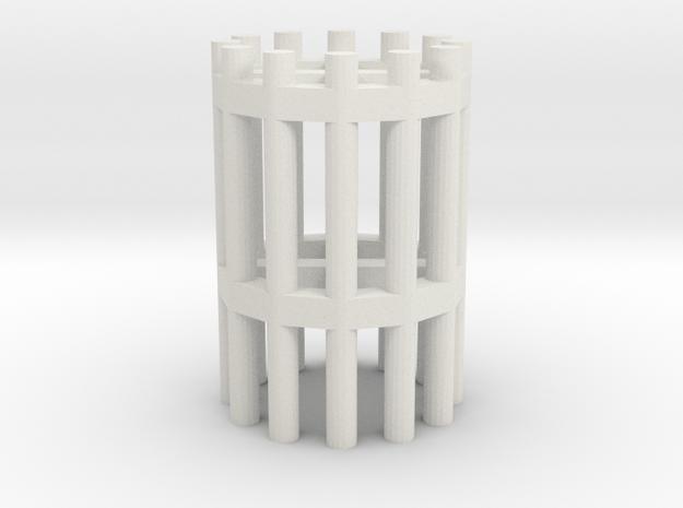 Duckdalben 12er rund mit Innenstreben 1:120 in White Natural Versatile Plastic