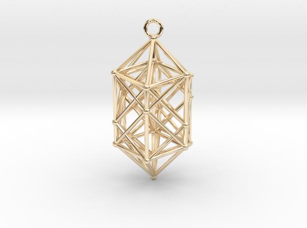Hyperdiamond projection of 24 cell Octoplex 40mm in 14k Gold Plated Brass: Medium