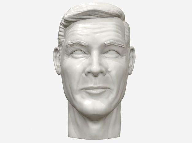 Roger Moore portrait head in White Natural Versatile Plastic