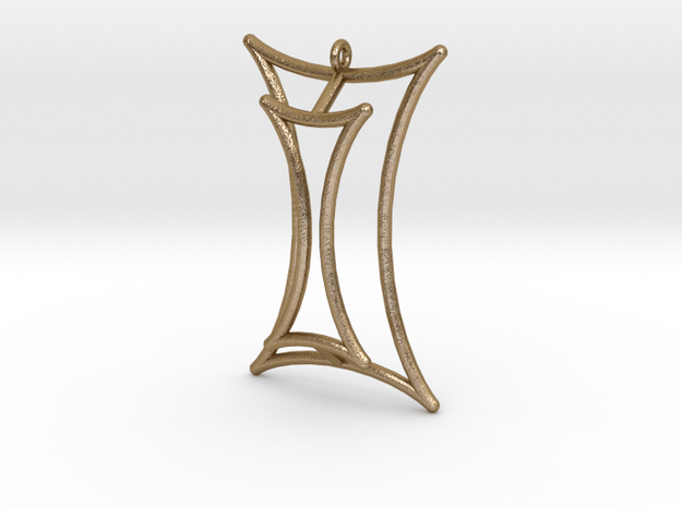Talbot's Curve Pendant in Polished Gold Steel