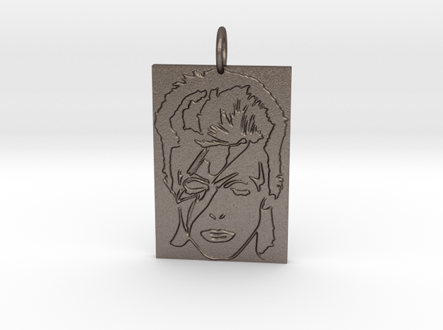 David Bowie Pendant in Polished Bronzed Silver Steel