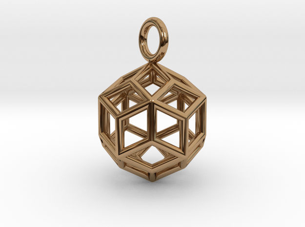 Pendant_Rhombic-Triacontahedron in Polished Brass
