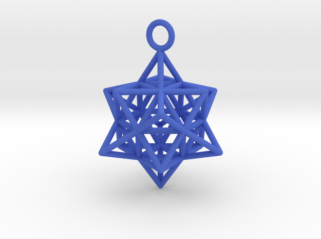 Pendant_Cuboctahedron-Star in Blue Processed Versatile Plastic