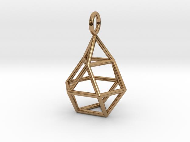 Pendant_Cuboctahedron-Droplet in Polished Brass