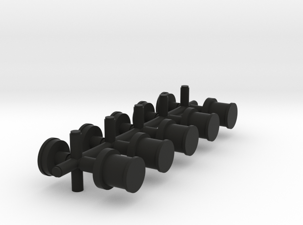 set of 5 Oil Lights and roof caps in Black Natural Versatile Plastic
