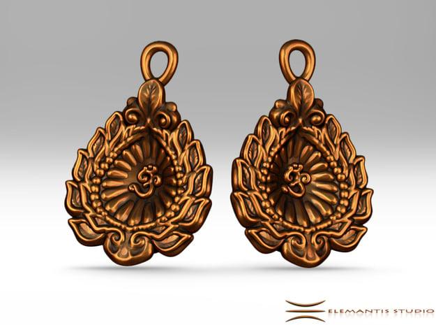 Diwali  / Loi Krathong AUM Earrings  in Natural Brass