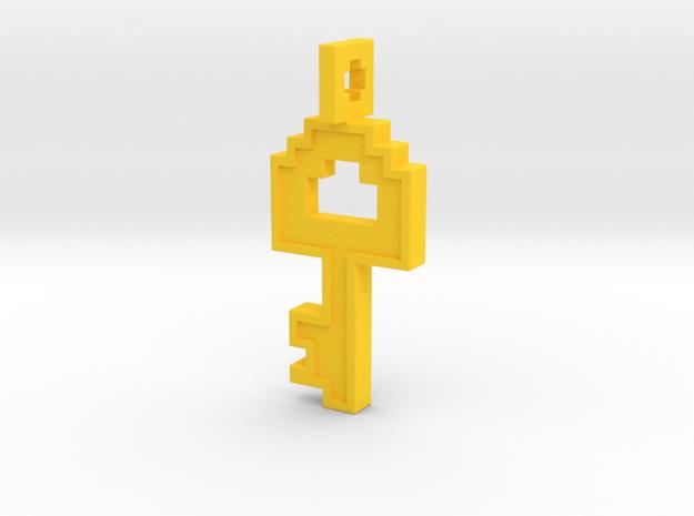 8-bit Key Pendant in Yellow Processed Versatile Plastic