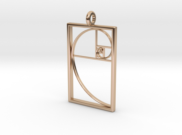 Golden Spiral Pendant #1 in 14k Rose Gold Plated Brass