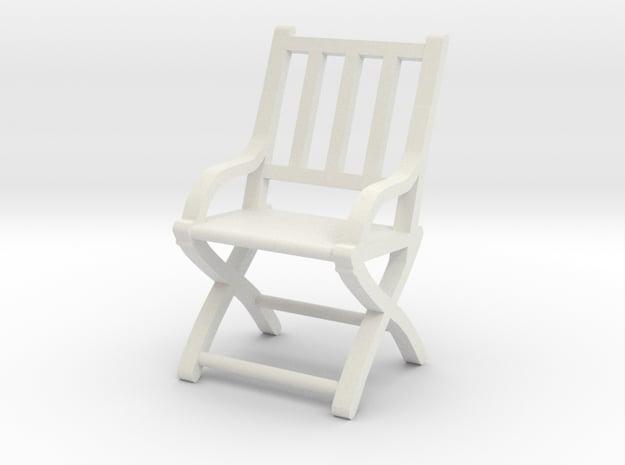 1:48 Vertical Slatted Civil War Folding Chair in White Natural Versatile Plastic