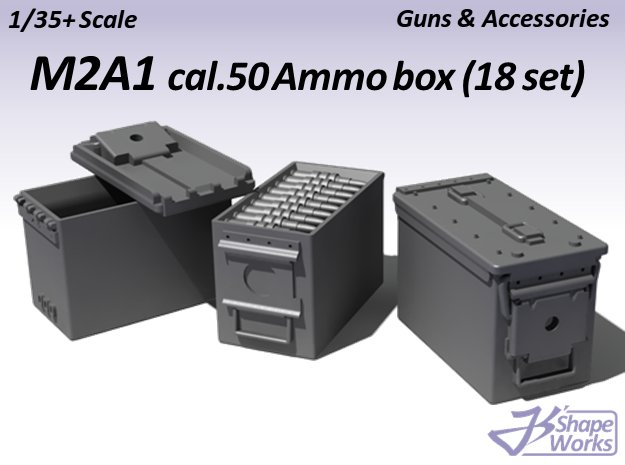 1/35+ M2A1 cal.50 Ammo box (18 set) in Smoothest Fine Detail Plastic: 1:35