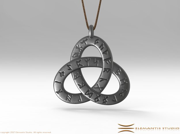 Saxon Rune Poem Triquetra 4.5cm in Polished Bronzed Silver Steel