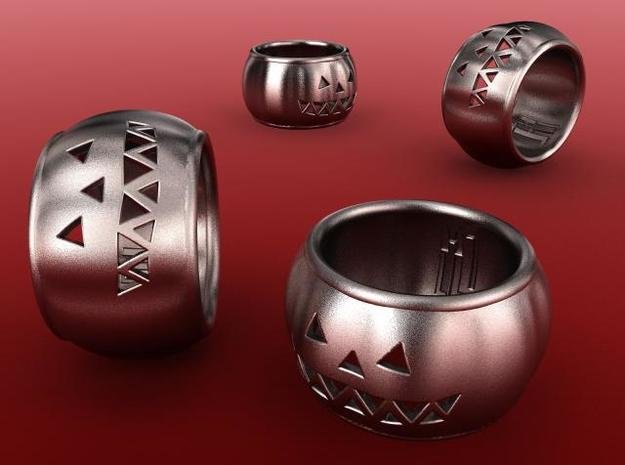 Pumpkin Ring in Polished Bronzed Silver Steel