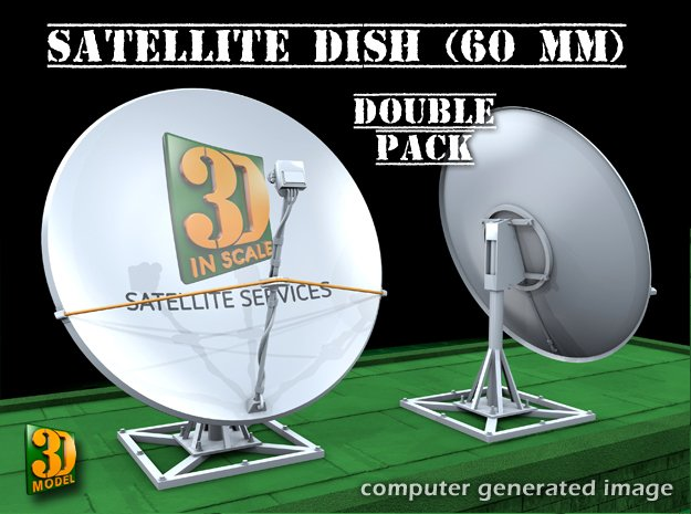 Satellite dish (60mm) double pack in Smooth Fine Detail Plastic