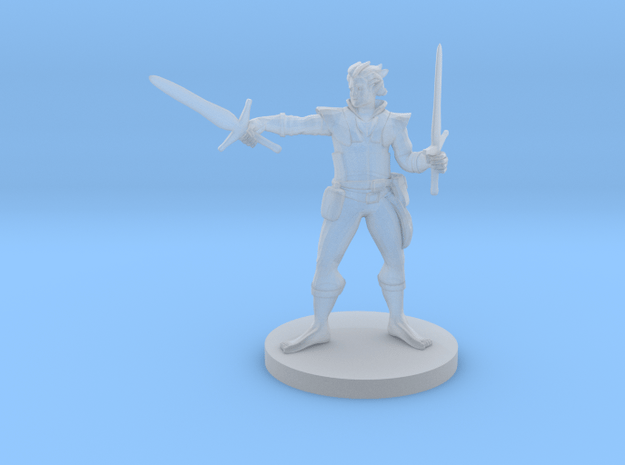 Elven Two Weapon fighter no shoes in Smooth Fine Detail Plastic