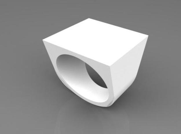 Square Ring in White Processed Versatile Plastic