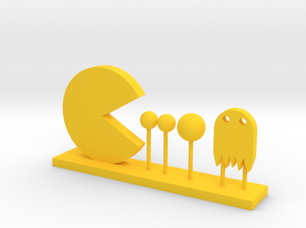 Pacman and Ghost in Yellow Processed Versatile Plastic