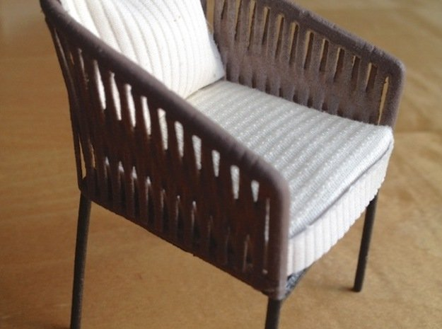 1:12 Chair Braided for patio or inside in White Processed Versatile Plastic