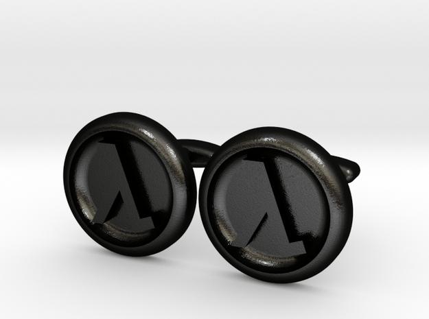 Half-Life Logo Cufflinks in Matte Black Steel