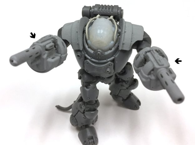 K-Type Martian Robot Shooty Arms V2 x2 in Smooth Fine Detail Plastic