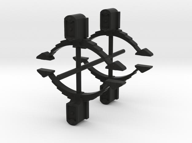4x LSWR Wagon axle boxes in Black Natural Versatile Plastic