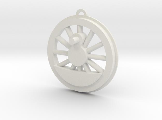 Steam Locomotive Drive Wheel Christmas Ornament in White Natural Versatile Plastic