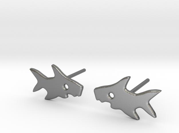 Shark Earring in Polished Silver