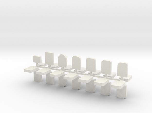 Grabsteine 28er Set 1:72 in White Natural Versatile Plastic