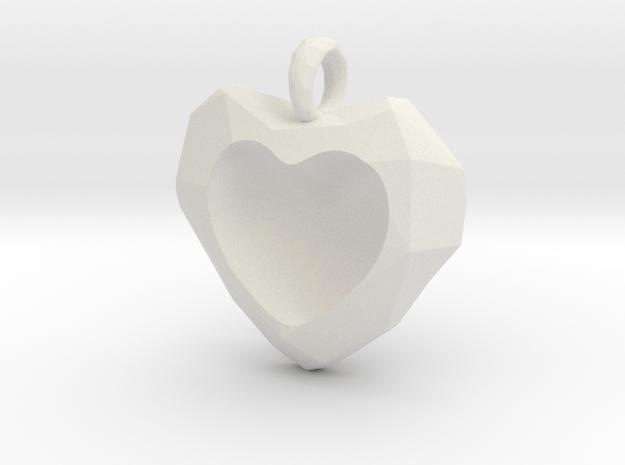 Frozen Heart Pendant in White Natural Versatile Plastic