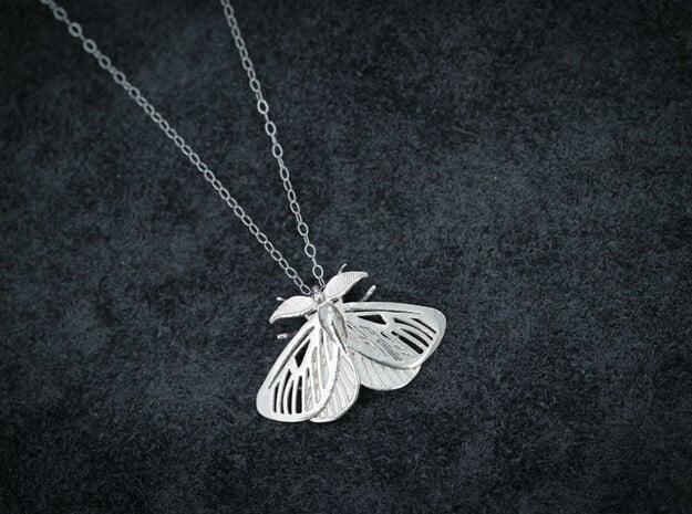 Satin Moth Pendant in Natural Silver