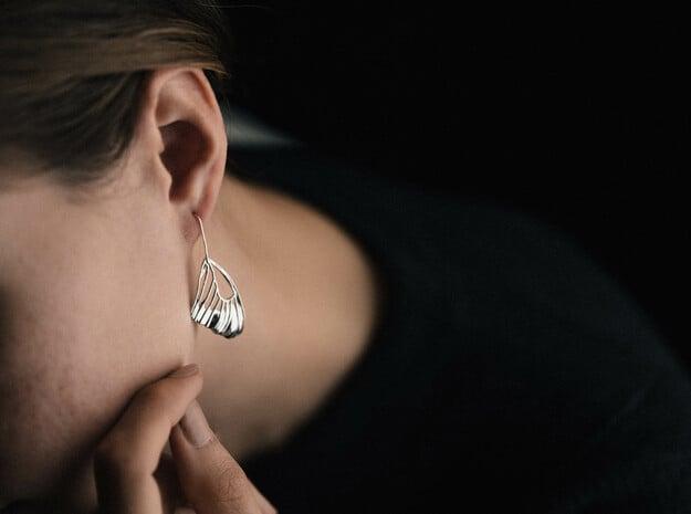 Butterfly Wing Drop Earrings in Polished Silver