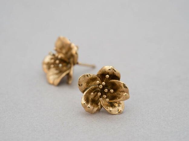 Petite Cherry Blossom Earrings in Natural Brass