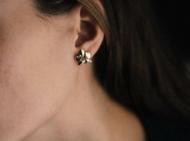 Petite Orchid Earrings in Polished Brass
