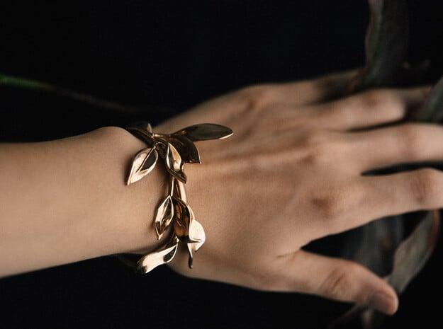 Laurel Leaf Cuff in Polished Bronze