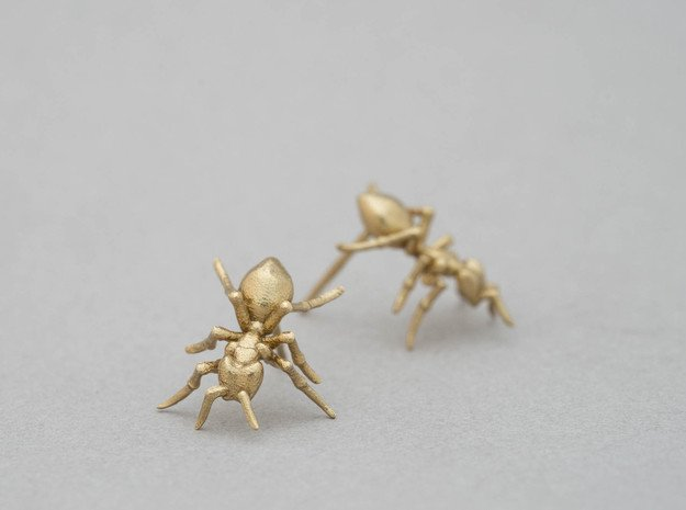 Little Ant Post Earring in Natural Brass