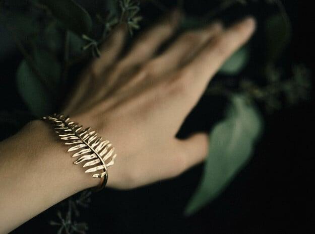 Sword Fern Bracelet in Polished Brass