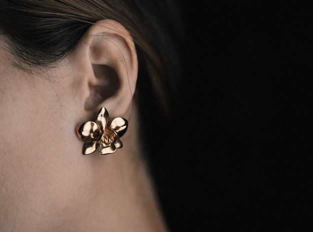 Orchid Earrings in Polished Bronze
