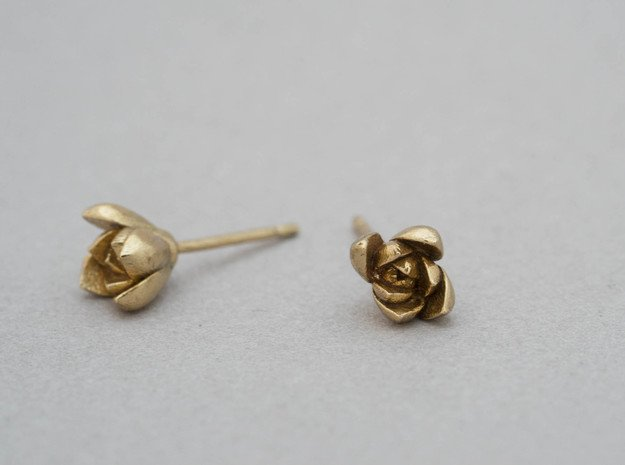 Succulent No. 1 Stud Earrings in Polished Brass