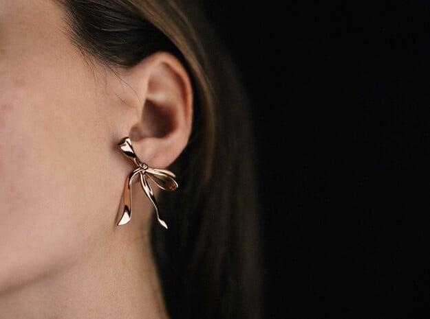 Ribbon Post Earrings in 14k Rose Gold Plated Brass