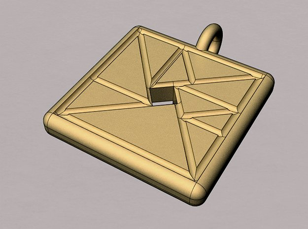 trigon varia pendant in Polished Bronzed Silver Steel