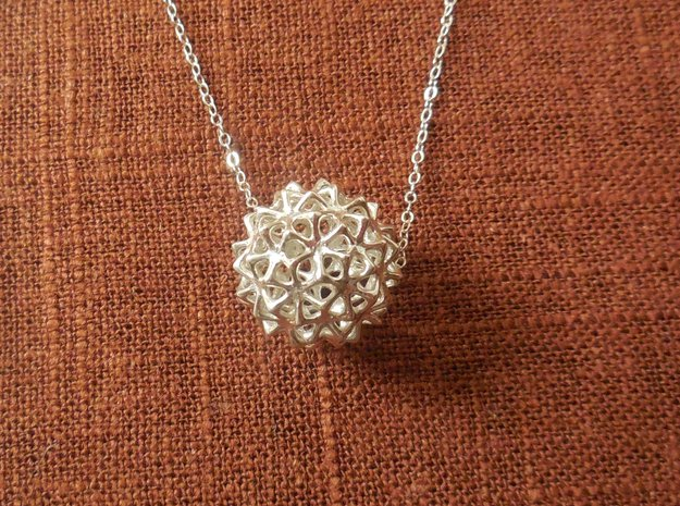 Snow Ball - Bead Pendant in Polished Silver